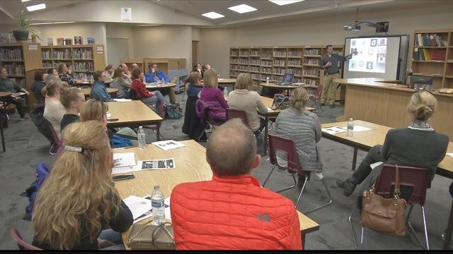 Parents get a cyber safety education lesson at Hellgate Elementary School. (MTN News photo)