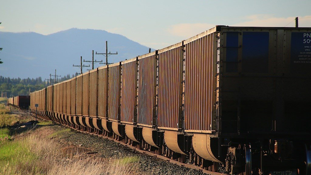 MRL train cars on the tracks in the Bitterroot. (MTN News//Dennis Bragg photo)