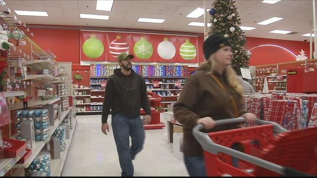 A steady stream of folks were hitting Missoula's Target store when we stopped by Monday. (MTN News photo)