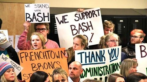 Dozens turned out at a Frenchtown School Board meeting to show support for music teacher Troy Bashor, (Dennis Bragg/MTN News photo)