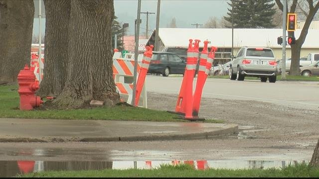 Water line repairs to the 1000 block of South Main Street in Kalispell are underway. (MTN News photo)