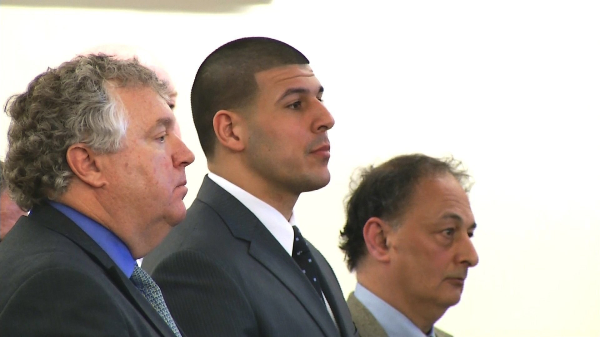Convicted murderer and ex-NFL star Aaron Hernandez was found hanged in his prison cell. (Pool photo via CNN)