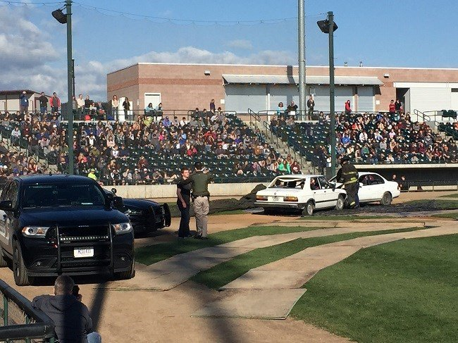 The mock crash demonstration is being held at the Osprey stadium. (MTN News photo)