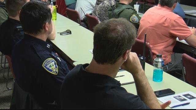 The growing problem in northwest Montana area drew more than 30 officers from the region to FVCC. (MTN News photo)