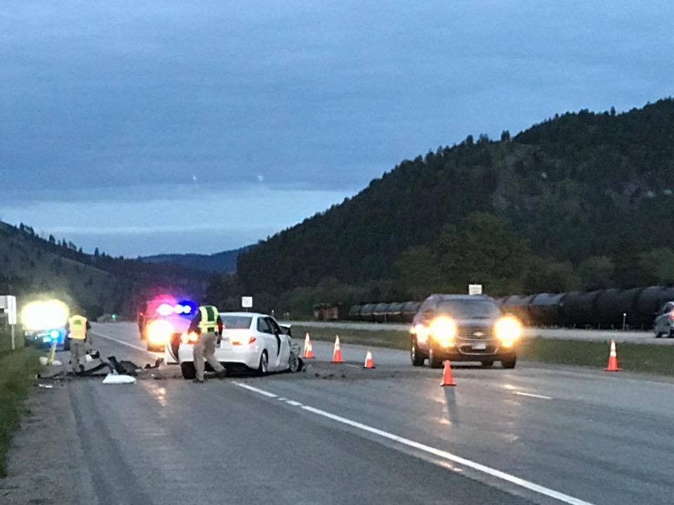 The accident happened on I-90 West near the Bearmouth exit. (MTN News/Augusta McDonnell photo)