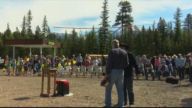 The groundbreakingmarks a fresh start following a devastating fire a year ago that destroyed the Mission Mountain Mercantile. (Nicole Miller/MTN News photo)