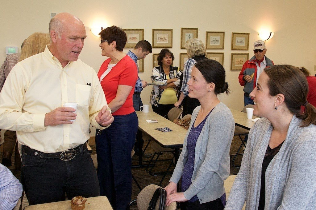 Republican congressional candidate Greg Gianforte meeting with supporters in Missoula on 5.24.17. (MTN News/Dennis Bragg photo)