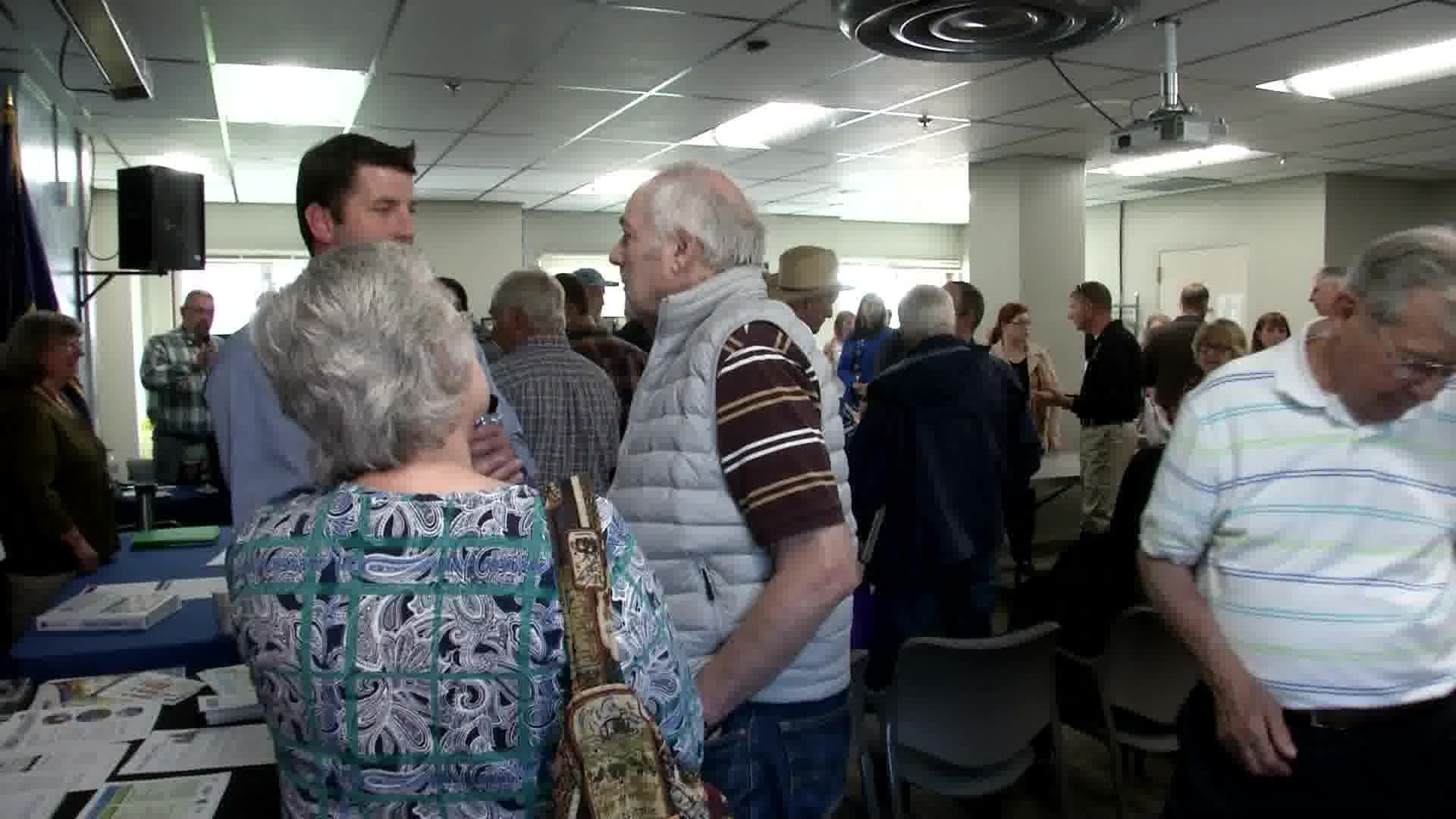 Veterans has the chance to ask questions about their medical care during a town hall at Fort Harrison. (MTN News photo)