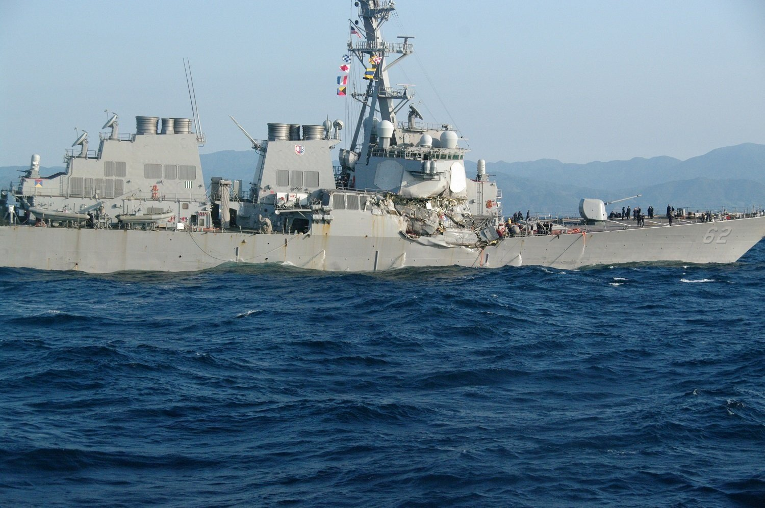 The USS Fitzgerald suffered damage to its starboard side above and below the waterline after it collided with a merchant ship off the coast of Japan. (Credit: Japanese Coast Guard)