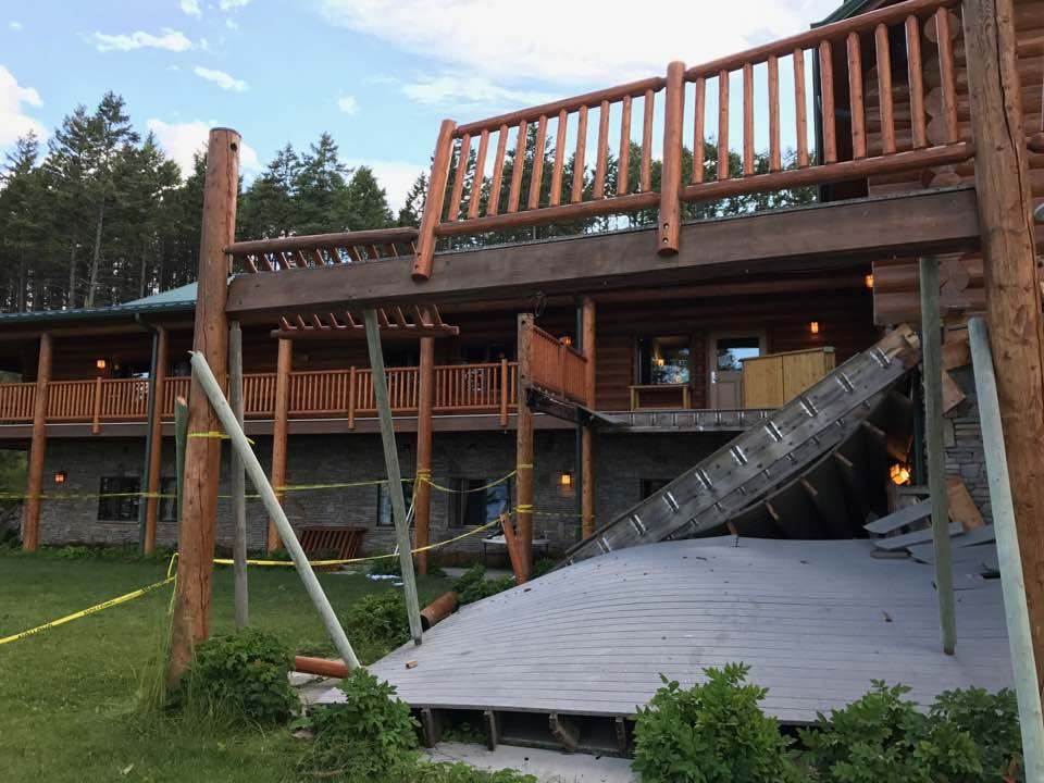 Spruce Lodge deck collapse injures more than 50 people.