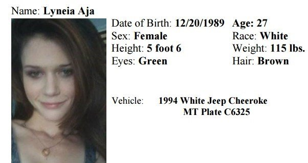 The Montana Department of Justice has issued a Missing/Endangered Person Advisory for Lyneia Aja.