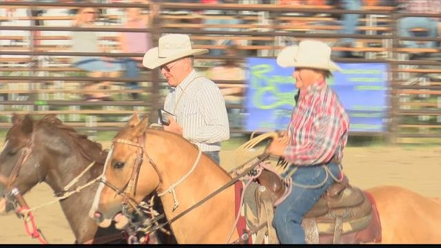 Bud Clemons, 80, from Colorado and JW Campbell, 84, from Alberta, Canada went head-to-head in the Darby arena. (MTN News photo)