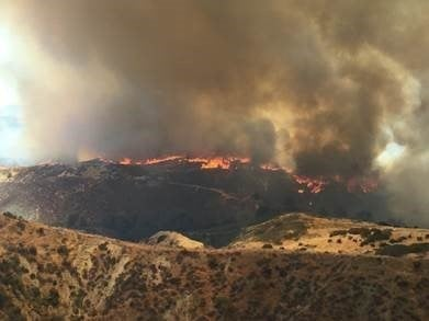 The Placerita Fire has grown to 750 acres with a containment of 50 percent in the Santa Clarita area. (Credit: LA County Fire PIO)