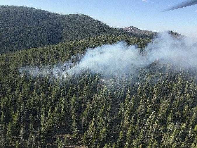 The Little Hogback fire is burning near Rock Creek. (Lolo National Forest photo)
