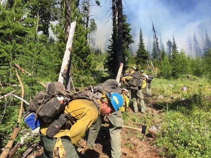 Crews working on the Lazier Creek 3 fire above the Thompson River. (courtesy photo).