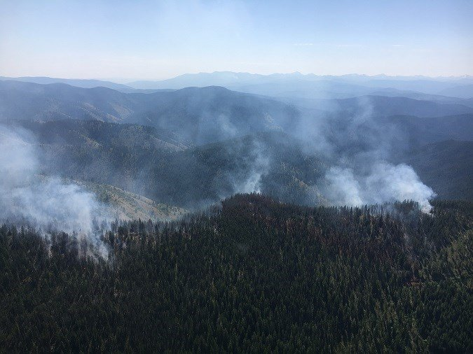 TheBurdette and Sunrise fires have been pouring out smoke that's visible wet of Missoula. (Lolo National Forest photo)