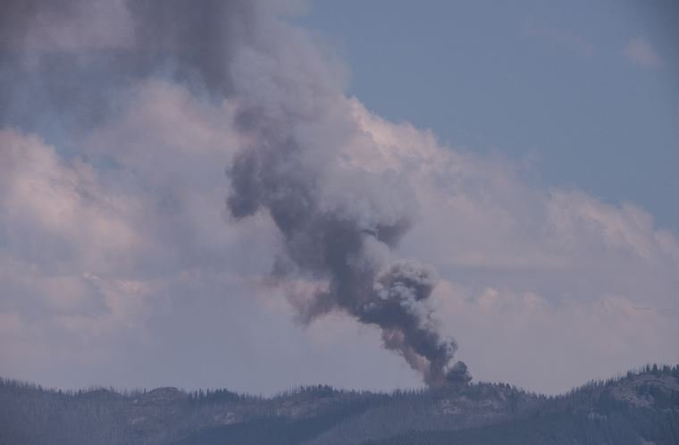 The blaze is burning in the Sapphire Mountains east of Corvallis. (photo credit: Mel Holloway)