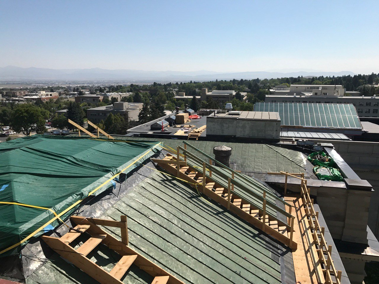 Workers have been busy this summer replacing some of theoriginal skylights on Montana's State Capitol. (MTN News photo)