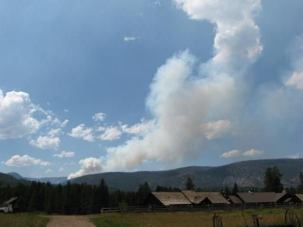 The Meyers fire as seen from Moose Lake Road. (photo credit: USFS)