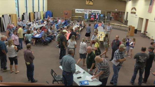 Nearly 200 turned out for Tuesday's meeting in Frenchtown. (MTN News photo)