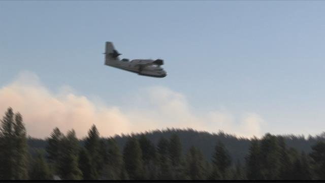 The waters of Seeley Lake remain closed as firefighting planes use the lake to fill their tanks. (MTN News photo)