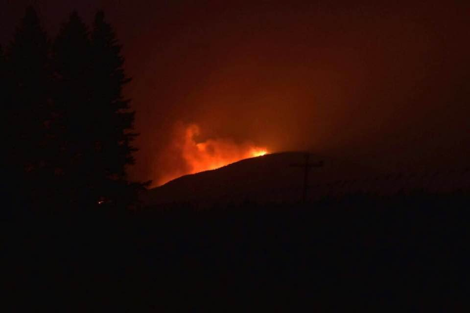 The Gibralter Ridge Fire as seen near Eureka on 8.7.17. (photo credit: Scott Bernhard)