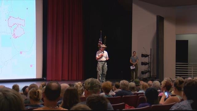 Hundreds turned out Wednesday evening to hear about the efforts to fight the blaze. (MTN News photo)