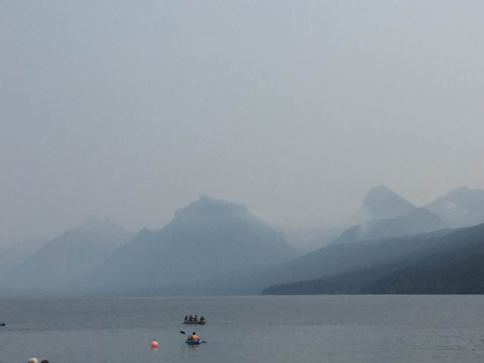 Smoke fills the air at Lake McDonald after several wildfires sparked to life on Thursday. (MTN News/Nicole Miller photo)