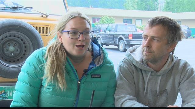 Whitney and Jason Olson were among those forced to evacute on Sunday. (MTN News photo)