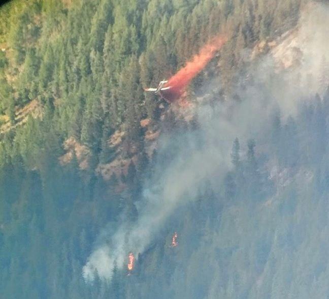 The Blue Bay fire is burning east of Polson along Highway 35. (photo credit: Robert Kohler)