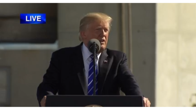 President Trump spoke about energy and taxes at the Tesoro refinery in Mandan, N.D. Wednesday. (photo credit KX News)