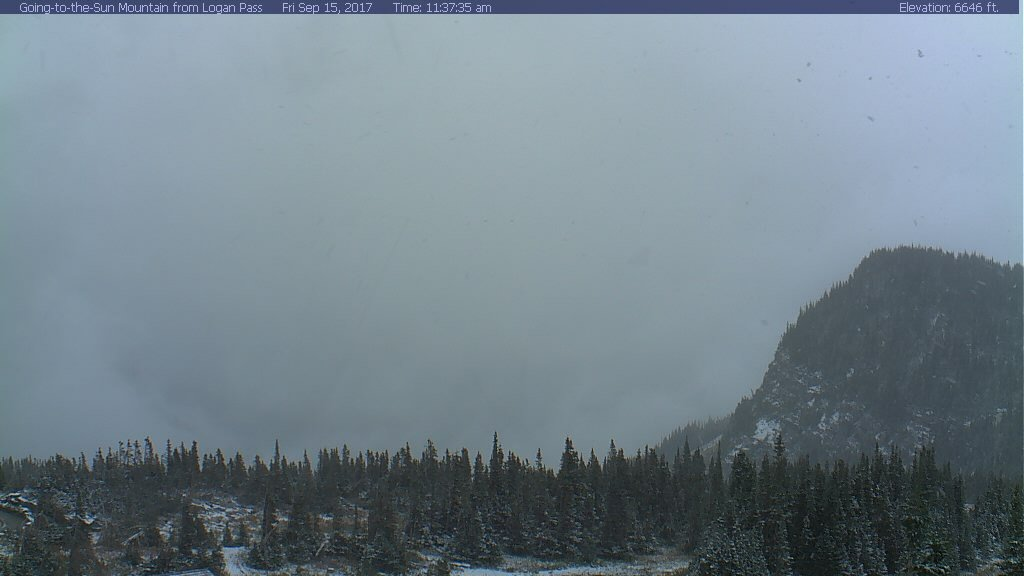 The view looking east from Logan Pass on Friday. (Glacier National Park webcam)