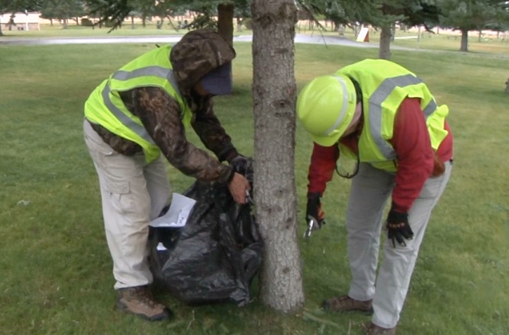 Saluting Branches, a nonprofit organization where arborists and volunteers landscape and prune veteran properties, spent the day sprucing up the cemetery. (MTN News photo)