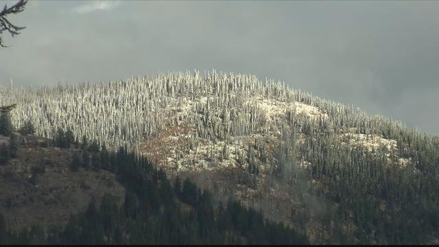 Snowfall reached Whitefish Mountain last Tuesday, and can still be seen on the summit from town. (MTN News photo)