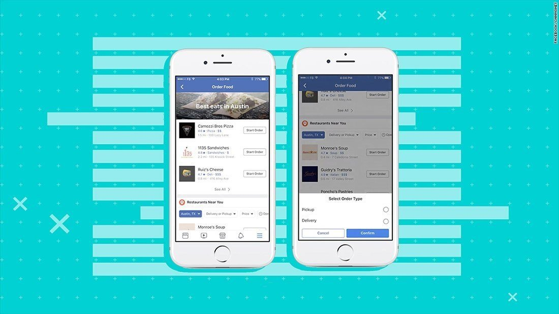Facebook enables ordering food deliveries from platform