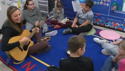 Most people use musical instruments for entertainment, but Bethany Venekamp uses them for learning. (MTN News photo)