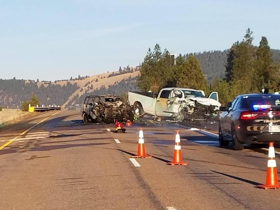 The head-on crash happened on I-90 near the Turah exit. (Russ Thomas/MTN News photo)