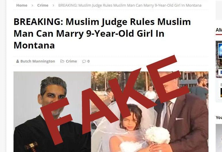Screenshot of fake news site.