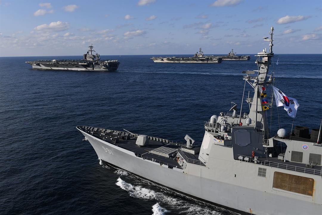 South Korean and US Navy drills (photo credit: South Korean Ministry of Defense)