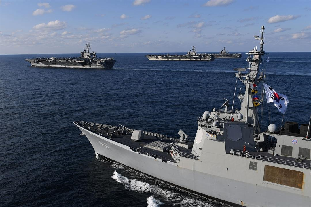 South Korean and US Navy drills (photo credit: South Korean Ministry of Defense)