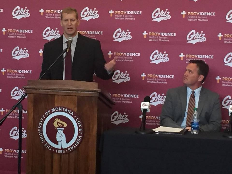 Bobby Hauck being introduced as the next coach of the Montana Grizzlies football team. (MTN/August McDonnell photo)