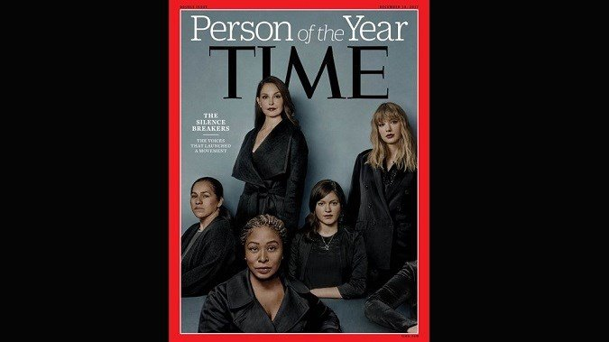 "Time magazine has named ""The Silence Breakers,"" representing people who came forward to report sexual misconduct, as its 2017 Person of the Year. (source:Time Magazine)"