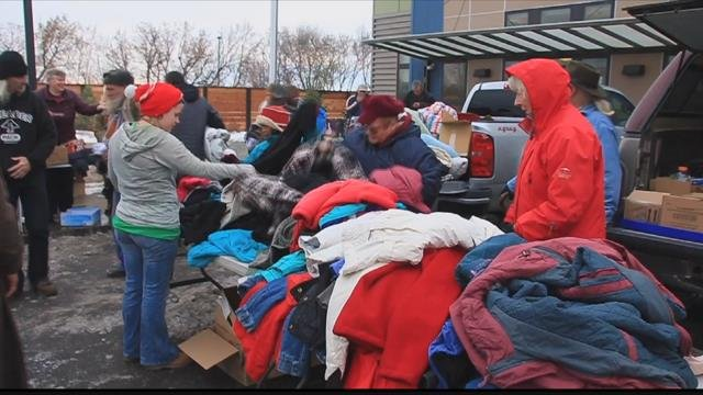"""""""David's Angels"""" has been busy for weeks collecting warm coats, hats, gloves, boots, sleeping bags and other items to help the homeless. (MTN News photo)"""