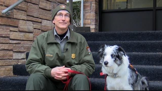 Natural Resources Program Manager Mark Biel and Gracie. (MTN News photo)