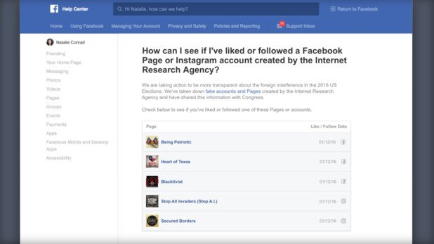 A screenshot of a portal that Facebook said will allow users to determine if between January 2015 and August 2017 they interacted with accounts linked to the Internet Research Agency, a Russian troll farm. (Facebook)