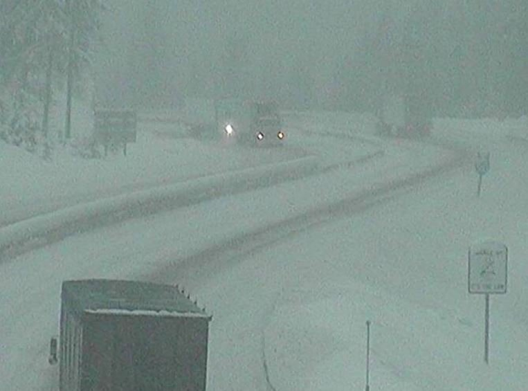 The view on I-90 at Lookout pass at mid-morning on Wednesday. (MDT image)