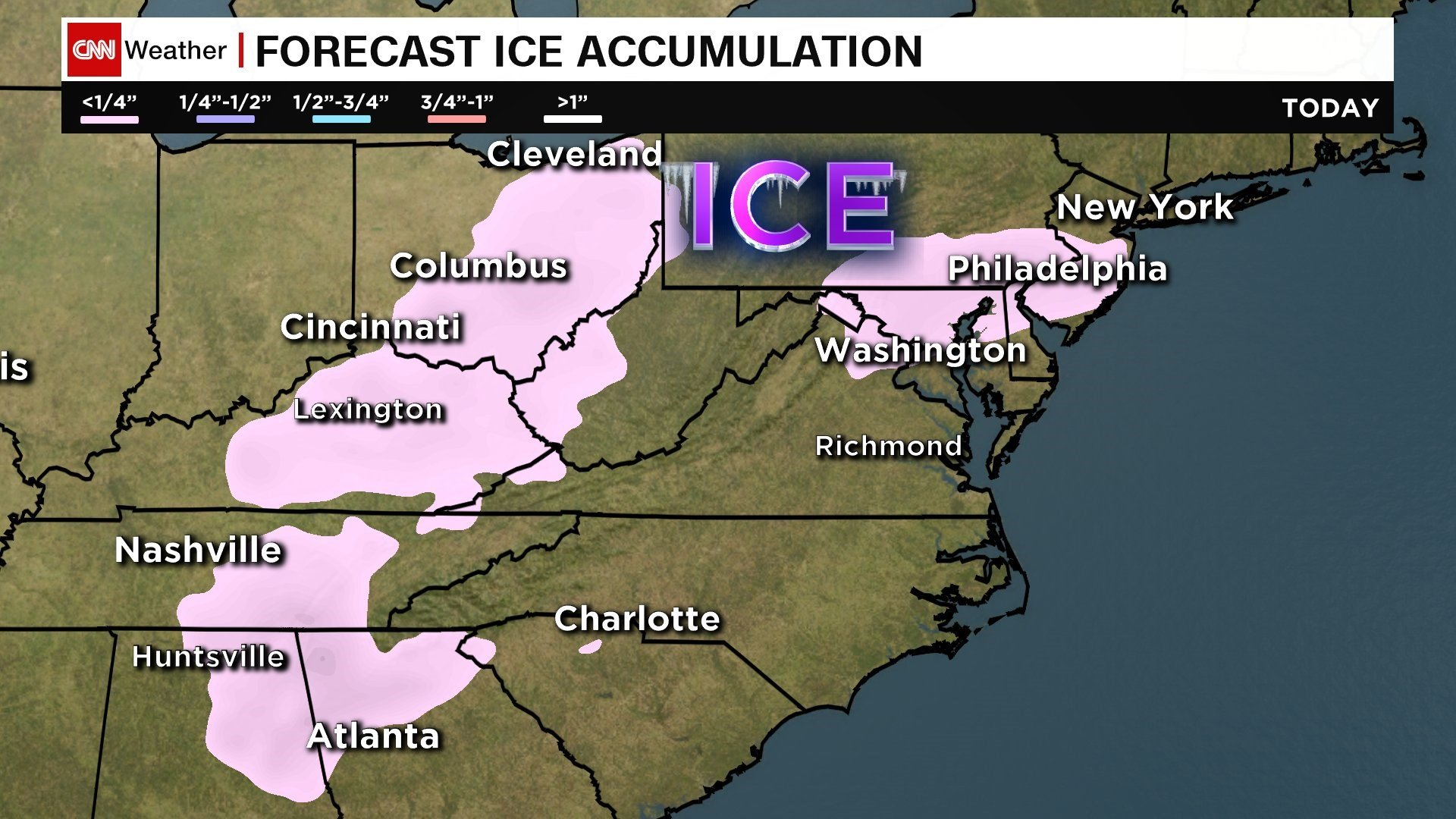 Chance of freezing rain Sunday night before warmer temps arrive