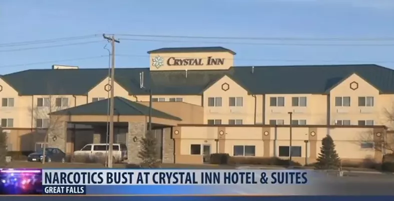 Several people were arrested in a narcotics bust at the Crystal Inn Hotel and Suites on Sunday morning. (MTN News photo)