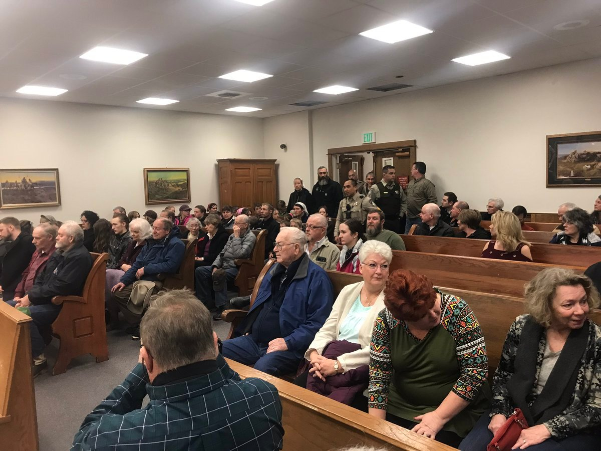 Spectators packed a Hamilton courtroom for Dr. Chris Christensen's sentencing hearing. (Augusta McDonnell/MTN News photo)