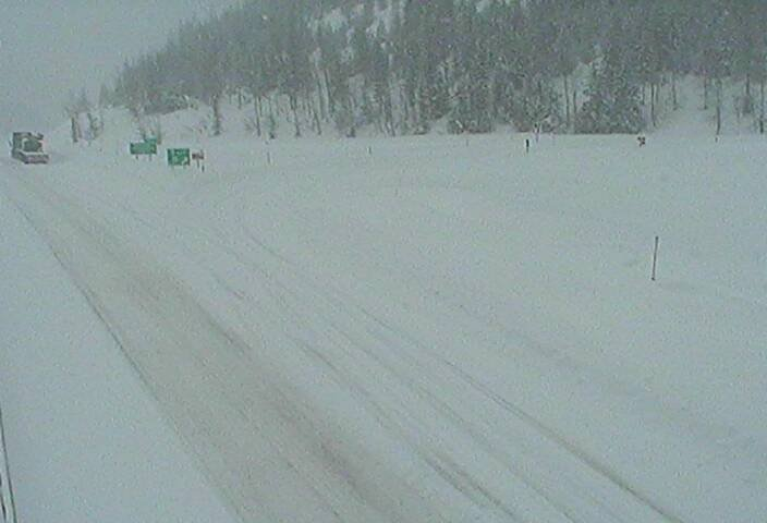 The view of I-90 at Lookout Pass as of mid-morning on Sunday. (MDT image)